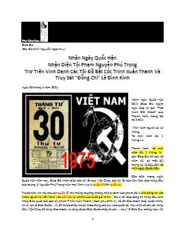Nhân Ngày Quốc Hận Nhận Diện Tội Phạm Nguyễn Phú Trọng